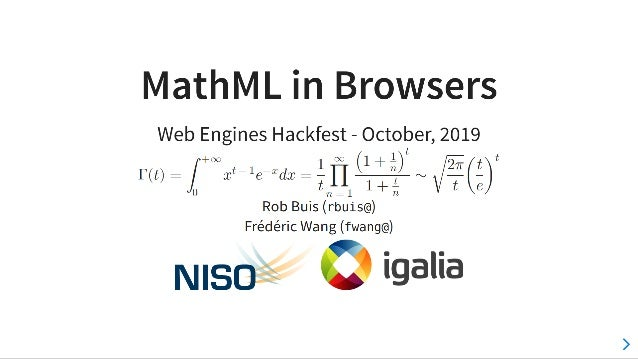 MathML in Browsers (Web Engines Hackfest 2019)