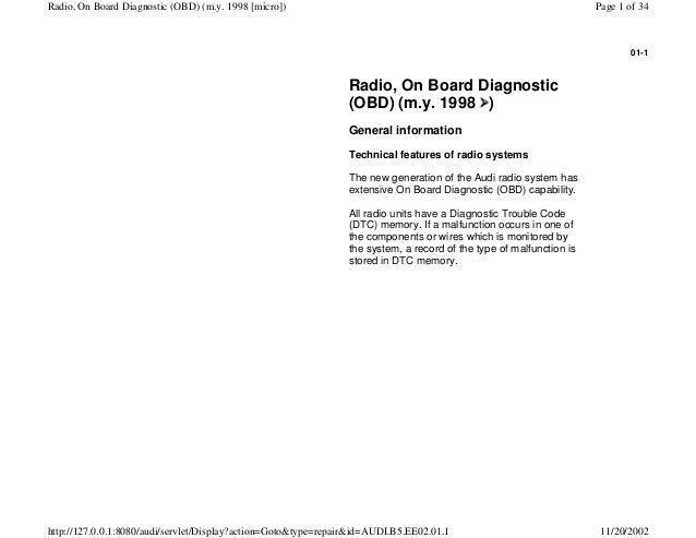 audi a4 b5 1 8l 1996 electrical equipment 01 1 radio obd rh slideshare net