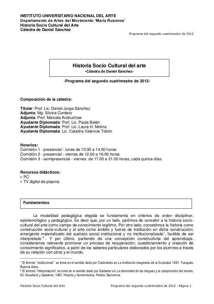 INSTITUTO UNIVERSITARIO NACIONAL DEL ARTEDepartamento de Artes del Movimiento 'María Ruanova'Historia Socio Cultural del A...