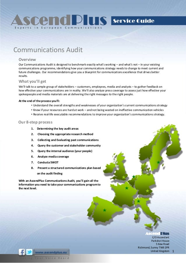 Service GuideCommunications Audit Overview Our Communications Audit is designed to benchmark exactly what's working – and ...
