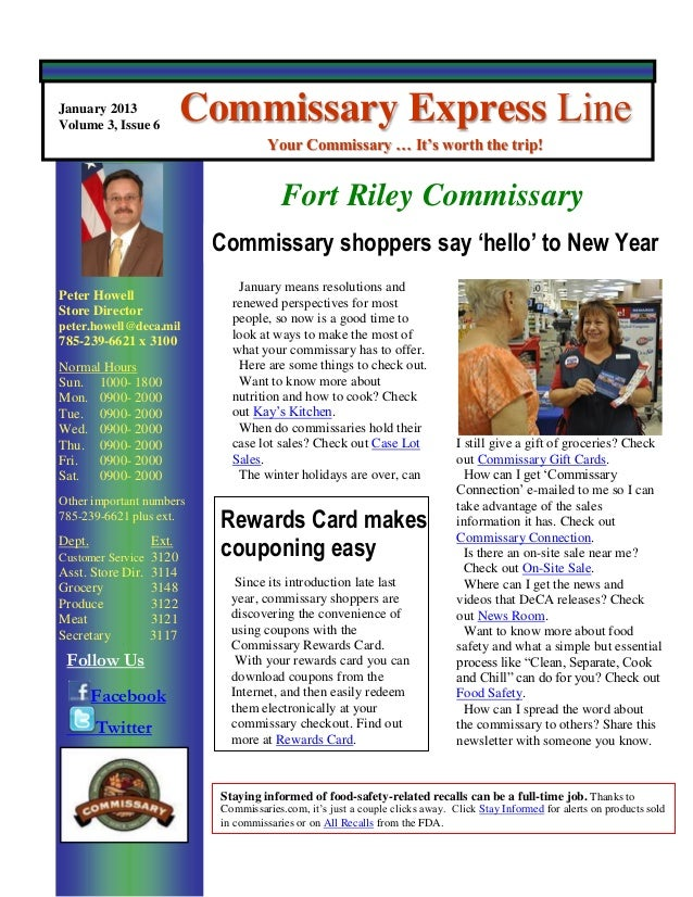 January 2013Volume 3, Issue 6                          Commissary Express Line                                      Your C...