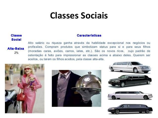 Classes Sociais Classe Social Características Alta-Baixa 2% Alto salário ou riqueza ganha através da habilidade excepciona...