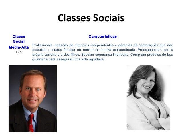 Classes Sociais Classe Social Características Média-Alta 12% Profissionais, pessoas de negócios independentes e gerentes d...