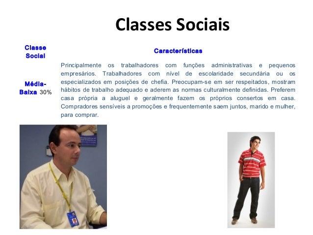 Classes Sociais Classe Social Características Média- Baixa 30% Principalmente os trabalhadores com funções administrativas...
