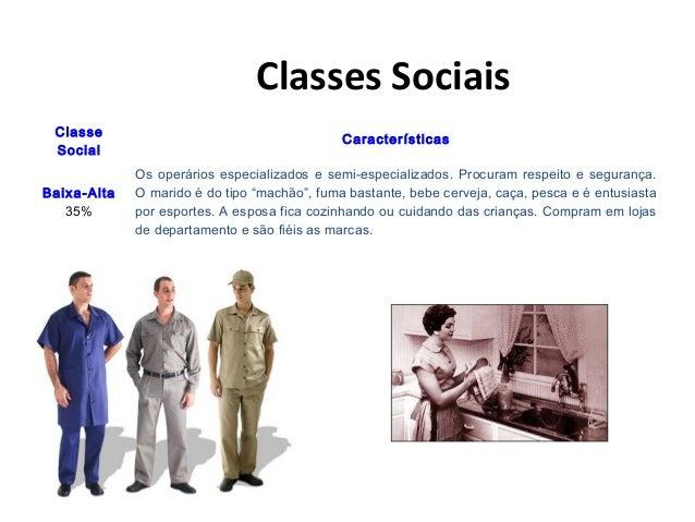 Classes Sociais Classe Social Características Baixa-Alta 35% Os operários especializados e semi-especializados. Procuram r...