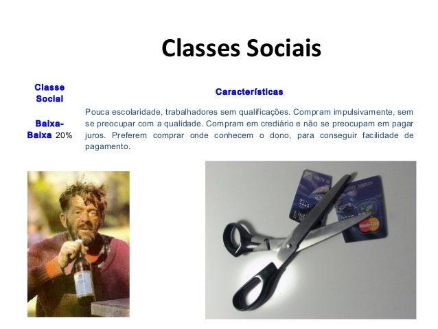 Classes Sociais Classe Social Características Baixa- Baixa 20% Pouca escolaridade, trabalhadores sem qualificações. Compra...