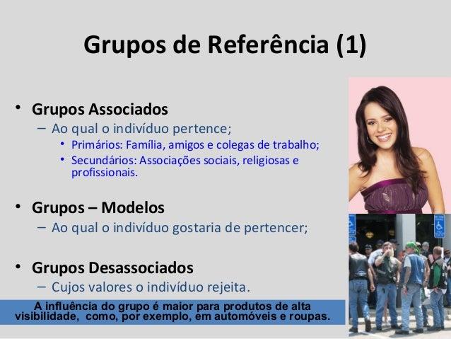 Grupos de Referência (1) • Grupos Associados – Ao qual o indivíduo pertence; • Primários: Família, amigos e colegas de tra...