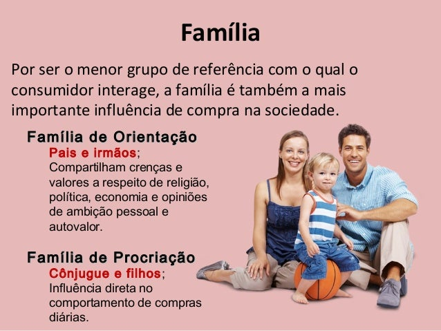 Família Por ser o menor grupo de referência com o qual o consumidor interage, a família é também a mais importante influên...