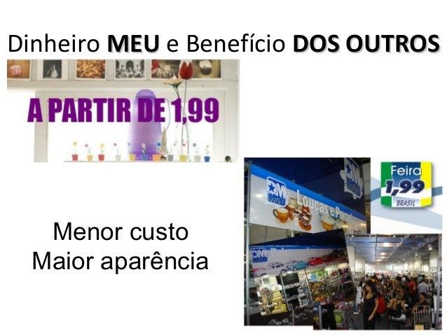 Dinheiro MEUMEU e Benefício DOS OUTROSDOS OUTROS Menor custo Maior aparência