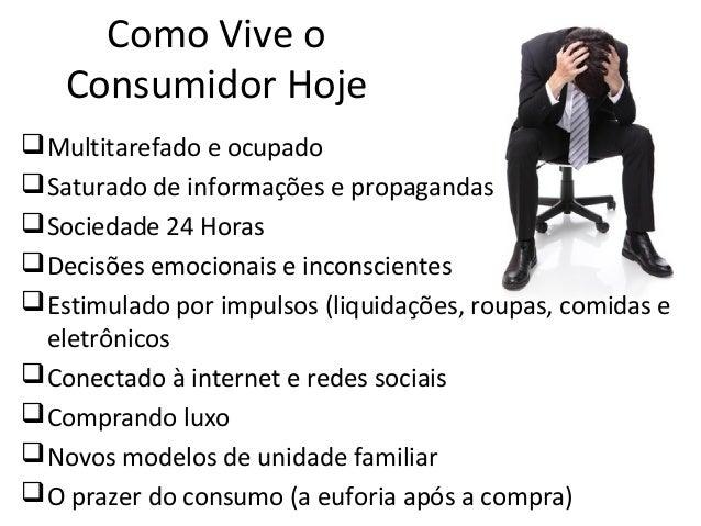 Como Vive o Consumidor Hoje Multitarefado e ocupado Saturado de informações e propagandas Sociedade 24 Horas Decisões ...
