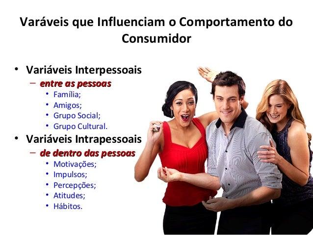 Varáveis que Influenciam o Comportamento do Consumidor • Variáveis Interpessoais – entre as pessoasentre as pessoas • Famí...