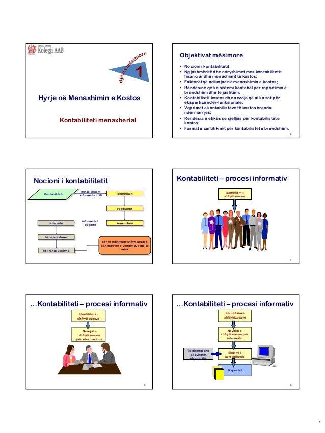 Objektivat mësimore  1 Hyrje në Menaxhimin e Kostos Kontabiliteti menaxherial   Nocioni i kontabilitetit  Ngjashmëritë d...