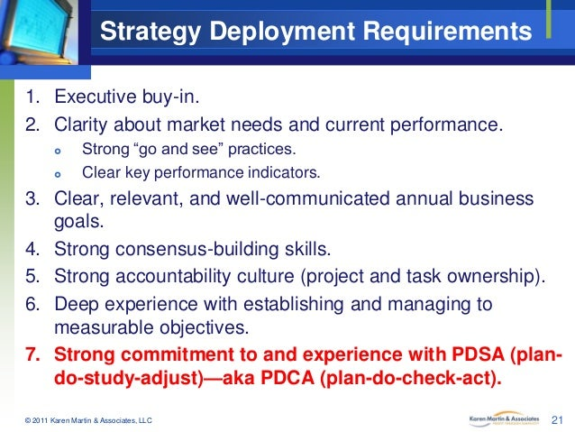 """Strategy Deployment Requirements 1. Executive buy-in. 2. Clarity about market needs and current performance.    Strong """"..."""