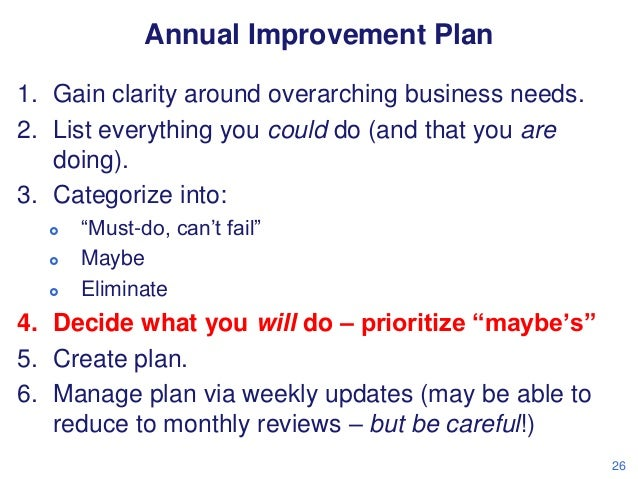 Annual Improvement Plan 1. Gain clarity around overarching business needs. 2. List everything you could do (and that you a...