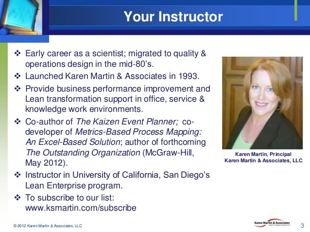 Your Instructor  Early career as a scientist; migrated to quality & operations design in the mid-80's.  Launched Karen M...