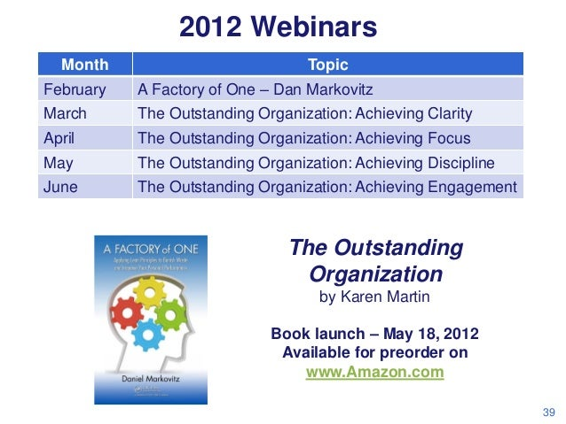 2012 Webinars Month  Topic  February  A Factory of One – Dan Markovitz  March  The Outstanding Organization: Achieving Cla...