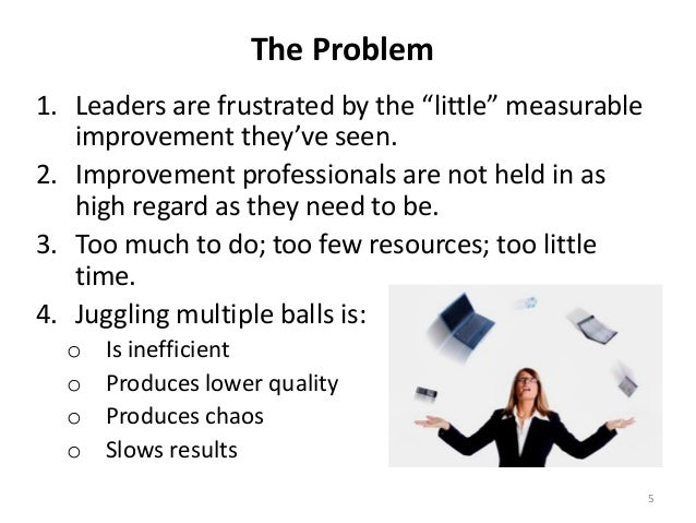 "The Problem 1. Leaders are frustrated by the ""little"" measurable improvement they've seen. 2. Improvement professionals ar..."