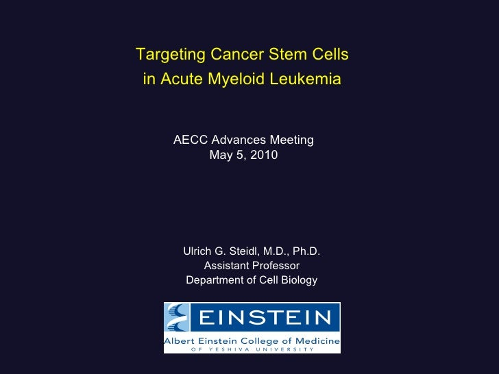 Targeting Cancer Stem Cells  in Acute Myeloid Leukemia   Ulrich G. Steidl, M.D., Ph.D. Assistant Professor Department of C...