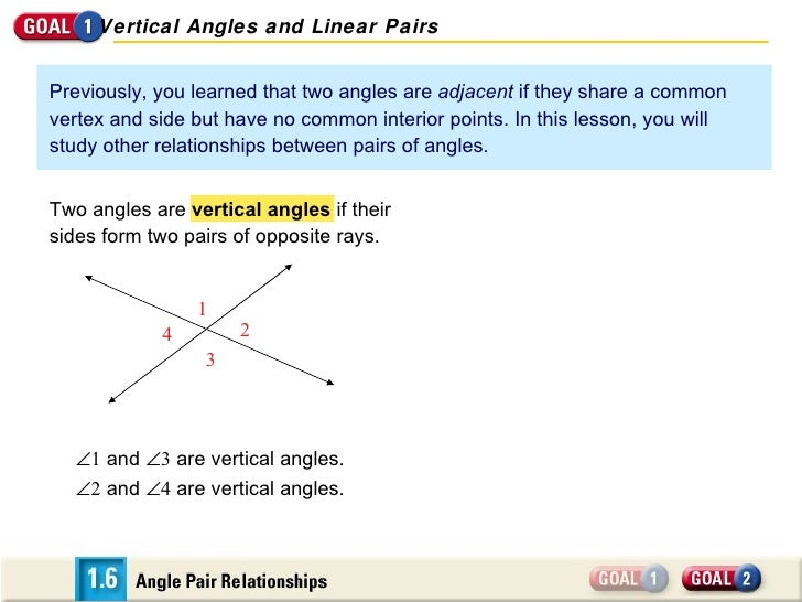 Previously, you learned that two angles are  adjacent  if they share a common vertex and side but have no common interior ...