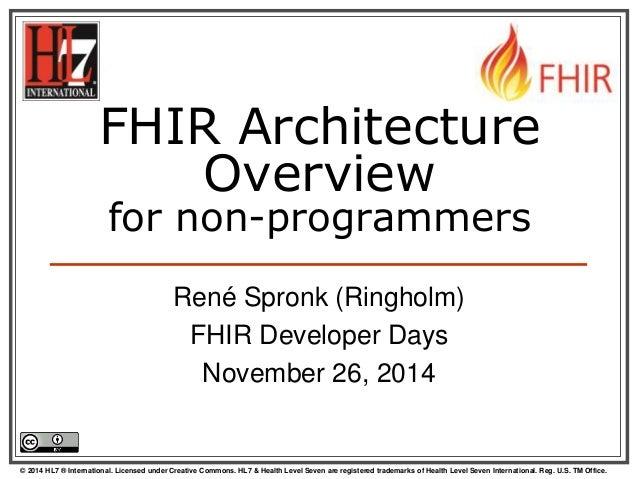 FHIR Architecture  Overview  for non-programmers  René Spronk (Ringholm)  FHIR Developer Days  November 26, 2014  © 2014 H...