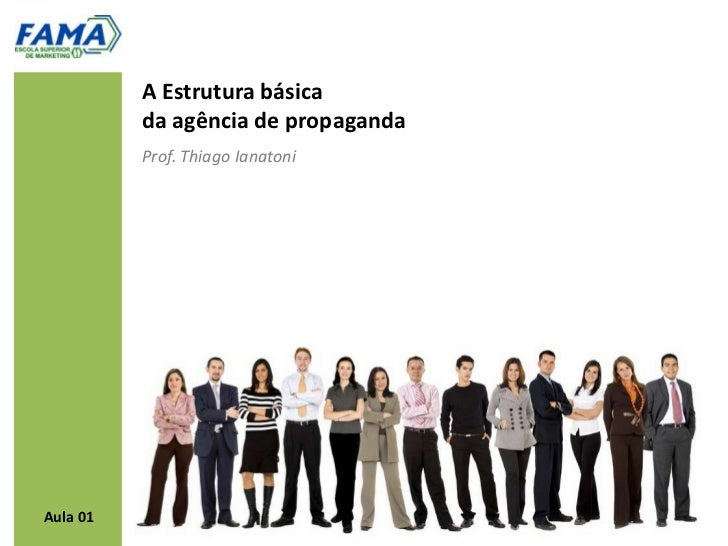 A Estrutura básica          da agência de propaganda          Prof. Thiago IanatoniAula 01