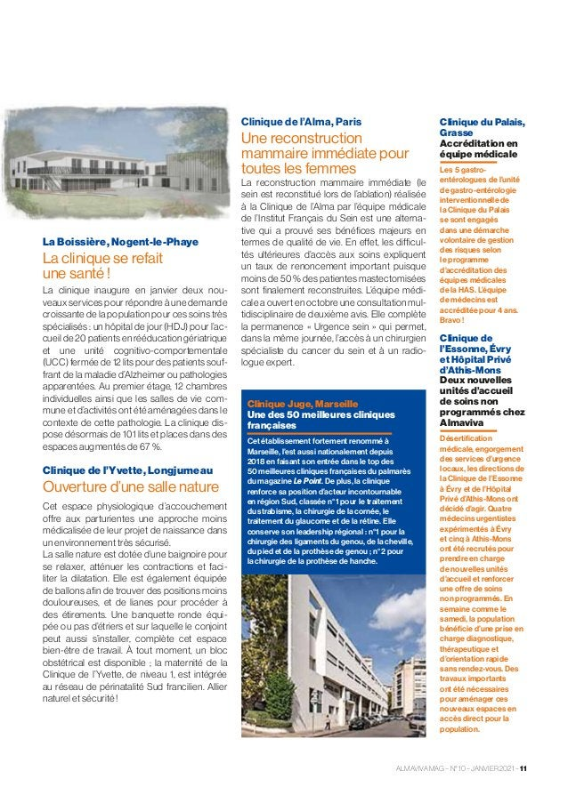 La Boissière, Nogent-le-Phaye La clinique se refait unesanté! La clinique inaugure en janvier deux nou- veaux services p...