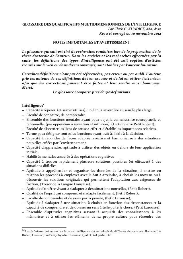 GLOSSAIRE DES QUALIFICATIFS MULTIDIMENSIONNELS DE L'INTELLIGENCE                                        Par Clark G. KHADI...