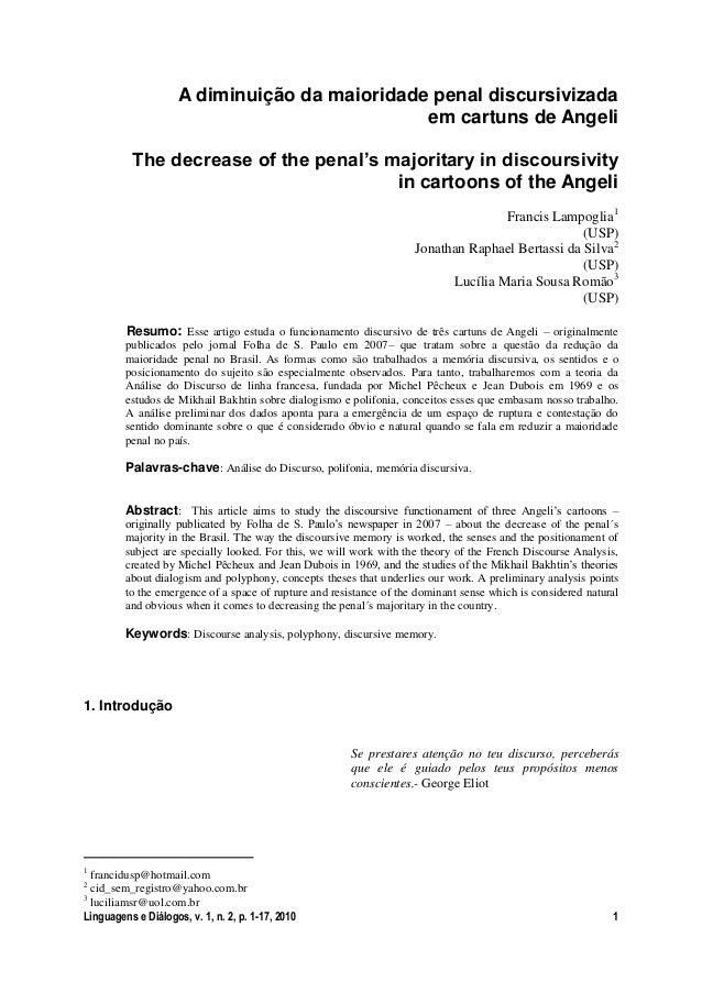 A diminuição da maioridade penal discursivizada                                               em cartuns de Angeli        ...