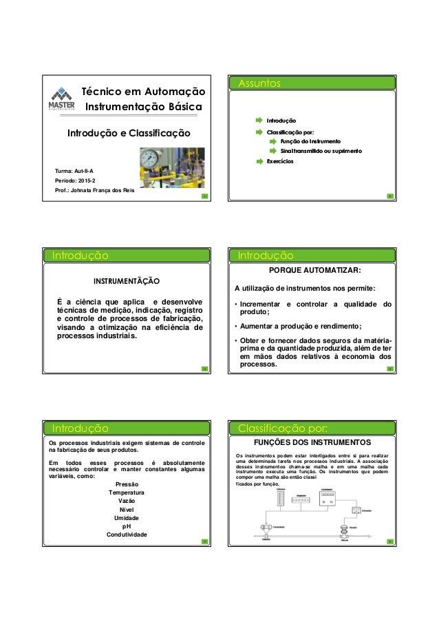 31/07/2015 1 Técnico em Automação Instrumentação Básica Turma: Aut-II-A Período: 2015-2 Prof.: Johnata França dos Reis Int...