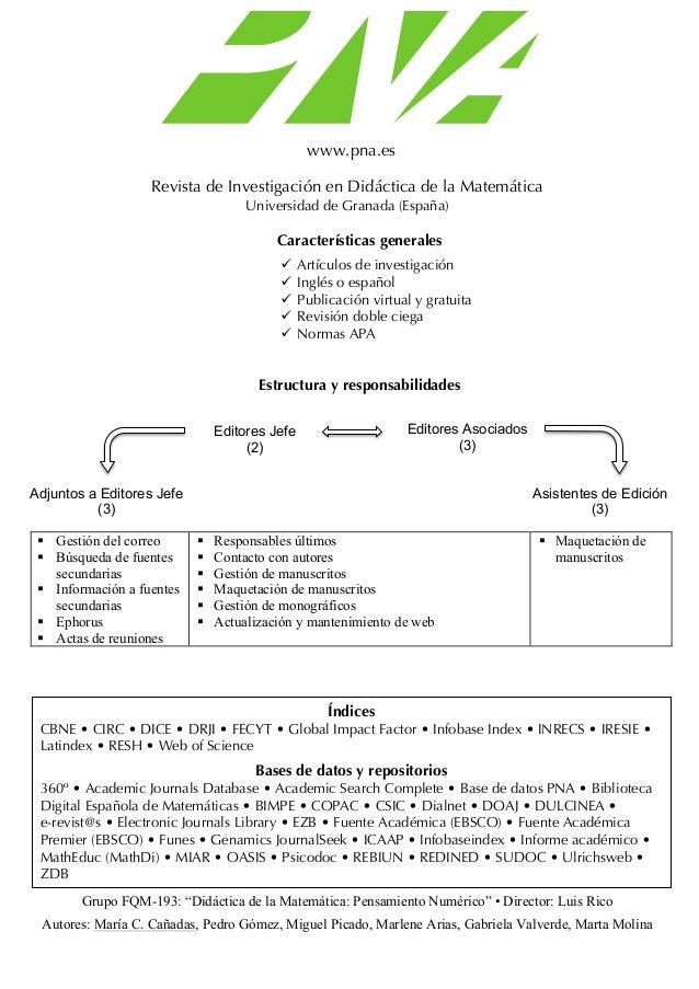 www.pna.es Revista de Investigación en Didáctica de la Matemática Universidad de Granada (España) Características generale...