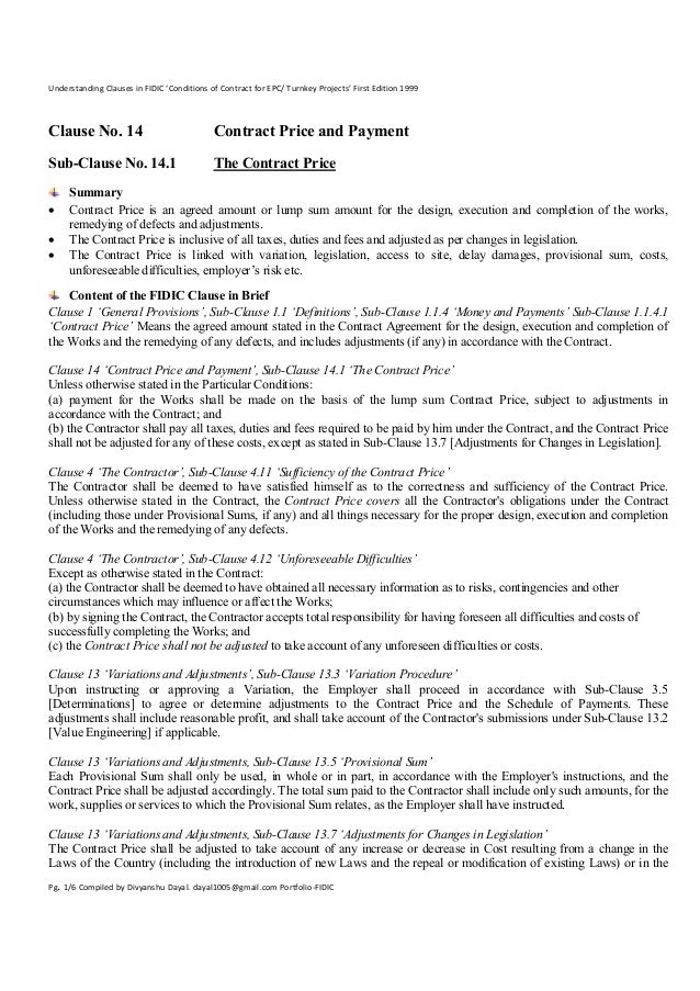turnkey contract template - clause 14 1 the contract price understanding clauses in