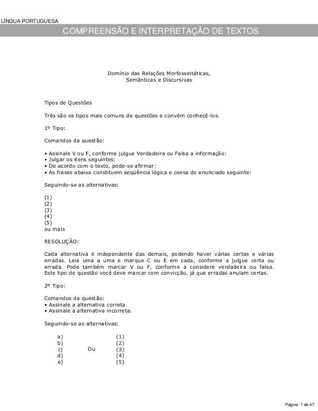 LÍNGUA PORTUGUESA                     COMPREENSÃO E INTERPRETAÇÃO DE TEXTOS                                     Domínio da...