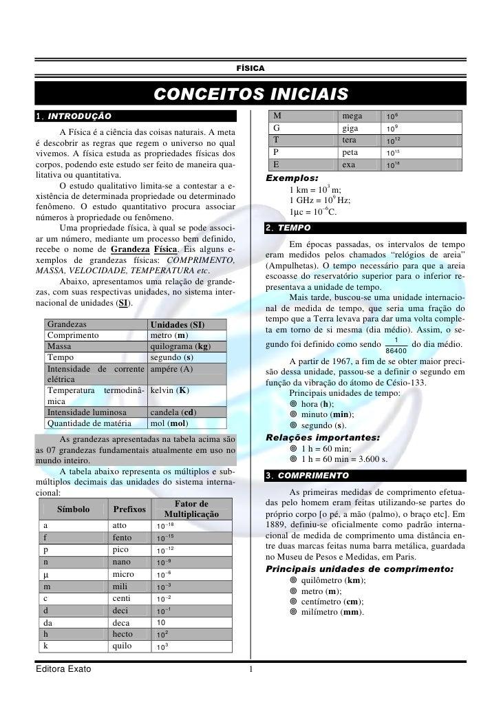 FÍSICA                                   CONCEITOS INICIAIS 1. INTRODUÇÃO                                                 ...