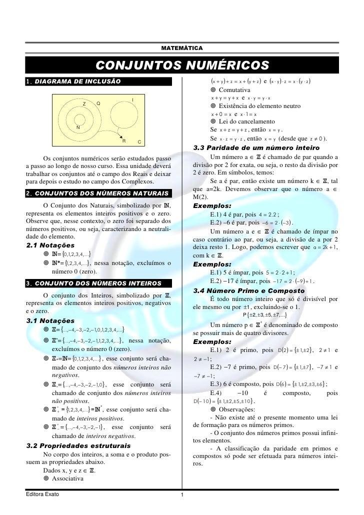 MATEMÁTICA                               CONJUNTOS NUMÉRICOS 1. DIAGRAMA DE INCLUSÃO                                      ...