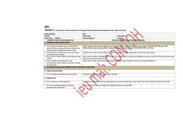 EDS Format 1: Evaluasi Diri Guru untuk Rencana Pengembangan Keprofesian Berkelanjutan Guru (diisi oleh Guru) Nama Sekolah:...