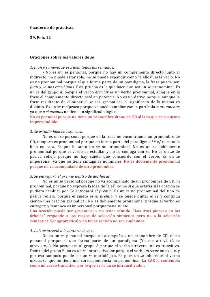 Cuaderno de prácticas.29. Feb. 12Oraciones sobre los valores de se1. Juan y su novia se escriben todas las semanas.       ...