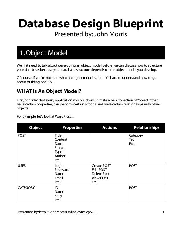 Database Design Blueprint  Presented by: John Morris  1. Object Model  We first need to talk about developing an object mo...