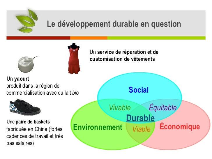 Le développement durable en question Économique Environnement Social Viable Vivable Équitable Durable Un  yaourt Une  pair...
