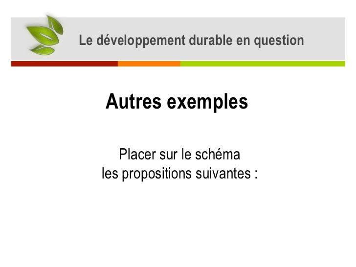 Le développement durable en question Autres exemples  Placer sur le schéma les propositions suivantes :