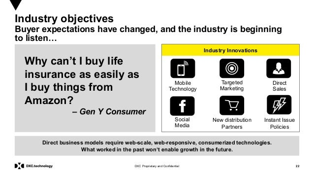 22DXC Proprietary and Confidential Industry Innovations Industry objectives Buyer expectations have changed, and the indus...