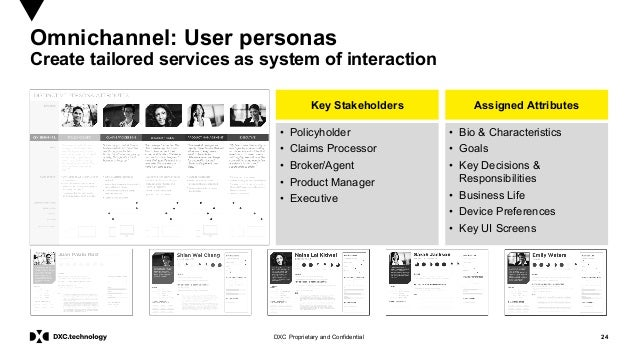 24DXC Proprietary and Confidential Omnichannel: User personas Create tailored services as system of interaction • Policyho...
