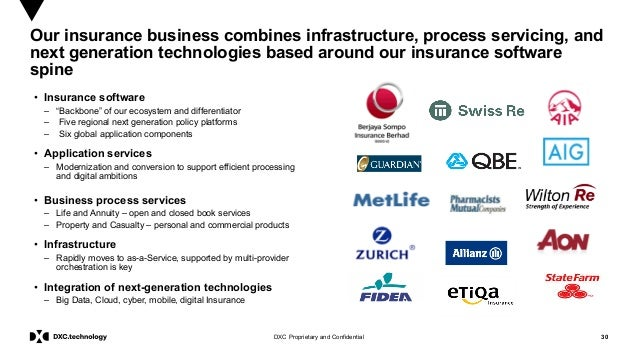 30DXC Proprietary and Confidential Our insurance business combines infrastructure, process servicing, and next generation ...