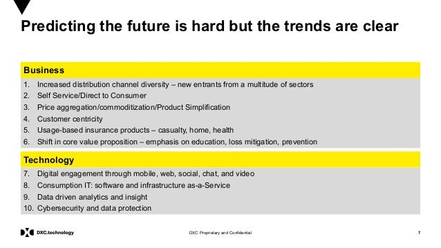 7DXC Proprietary and Confidential Predicting the future is hard but the trends are clear Business Technology 1. Increased ...