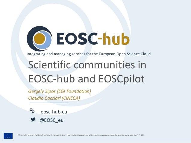 eosc-hub.eu @EOSC_eu EOSC-hub receives funding from the European Union's Horizon 2020 research and innovation programme un...