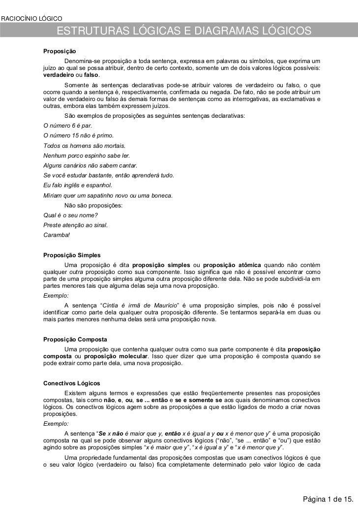 RACIOCÍNIO LÓGICO               ESTRUTURAS LÓGICAS E DIAGRAMAS LÓGICOS           Proposição                   Denomina-se ...