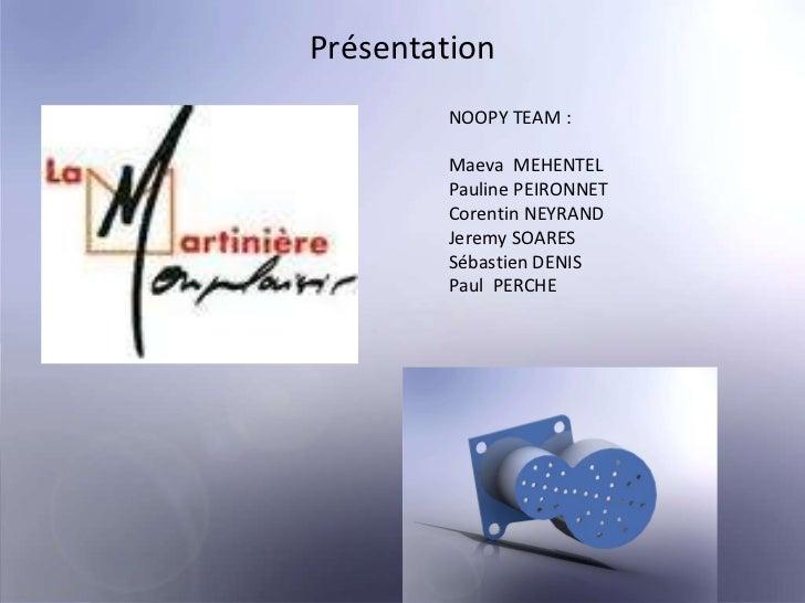 Présentation   NOOPY TEAM : Maeva  MEHENTEL Pauline PEIRONNET Corentin NEYRAND Jeremy SOARES Sébastien DENIS Paul  PERCHE