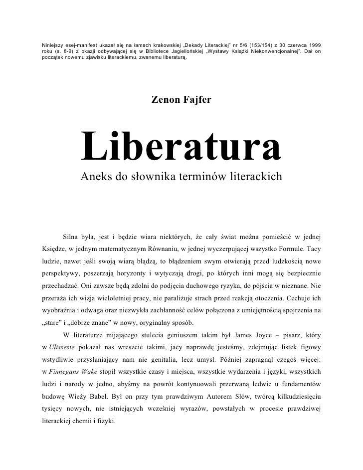 """Niniejszy esej-manifest ukazał się na łamach krakowskiej """"Dekady Literackiej"""" nr 5/6 (153/154) z 30 czerwca 1999 roku (s. ..."""