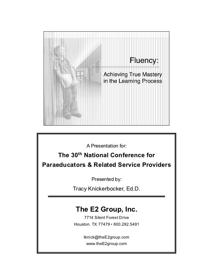 A Presentation for:     The 30th National Conference forParaeducators & Related Service Providers                  Present...