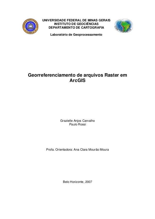 UNIVERSIDADE FEDERAL DE MINAS GERAIS INSTITUTO DE GEOCIÊNCIAS DEPARTAMENTO DE CARTOGRAFIA Laboratório de Geoprocessamento ...