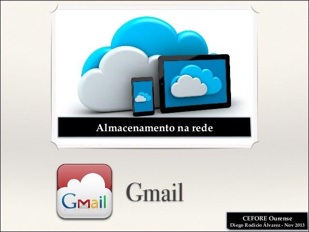 Almacenamento na rede  Gmail CEFORE Ourense! Diego Rodicio Álvarez - Nov 2013